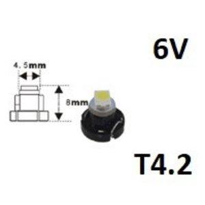 6V T4.2 1x 3528SMD LED Wit