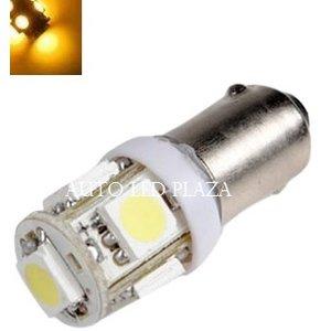 BA9S 6 Volt LED 5X 5050SMD LED Geel / Amber