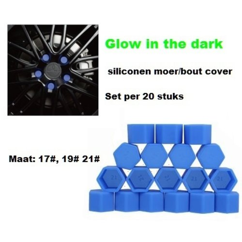 17# Wielmoer of bout siliconen cover Blauw in ''Glow in the dark'' uitvoering