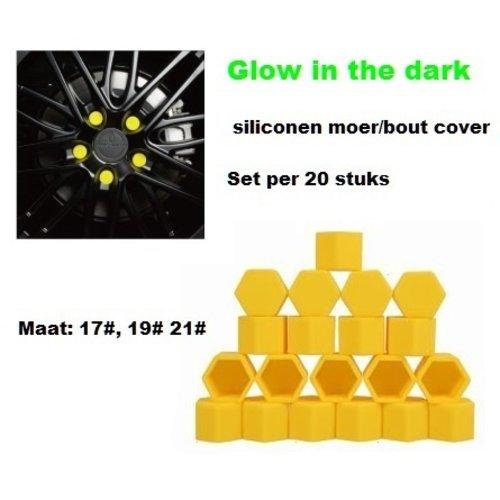 17# Wielmoer of bout siliconen cover Geel in ''Glow in the dark'' uitvoering