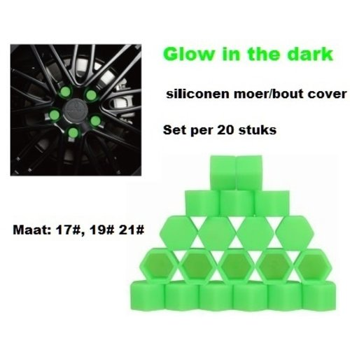 17# Wielmoer of bout siliconen cover Groen in ''Glow in the dark'' uitvoering