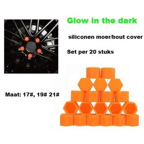 19# Wielmoer of bout siliconen cover Oranje in ''Glow in the dark'' uitvoering