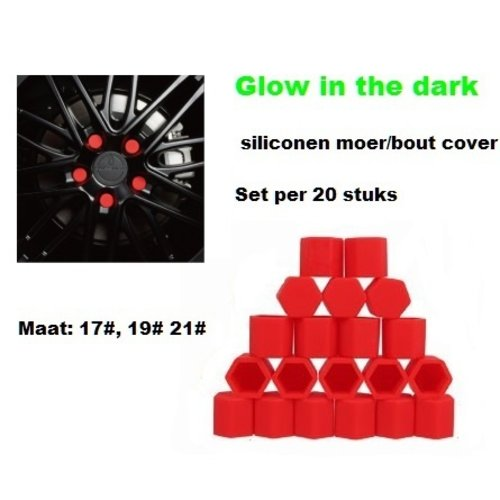 21# Wielmoer of bout siliconen cover Rood in ''Glow in the dark'' uitvoering