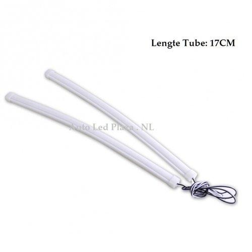 Flexibel siliconen helder BLAUW LED tube 17CM incl. montage clips
