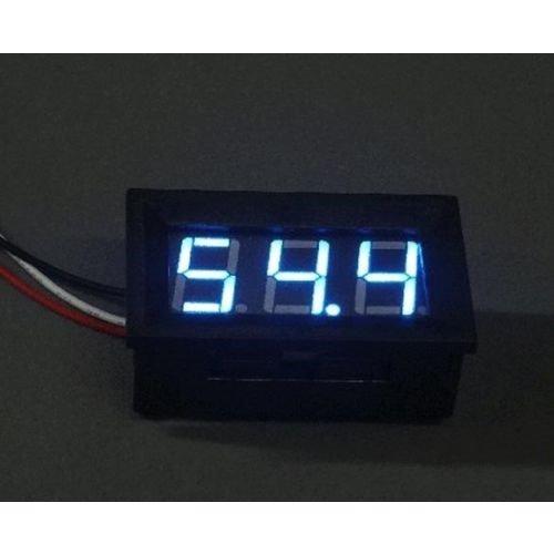 Voltmeter DC 3.6-50V Meter Blauw voorzien van instelbaar hoog/ laag voltage alarm