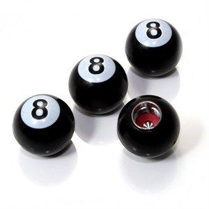 Set Ventieldopjes 4st. eight Ball zwart