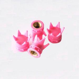 Set Ventieldopjes 4st. pink/roze kroontjes