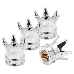 Set Ventieldopjes 4st. zilveren kroontjes