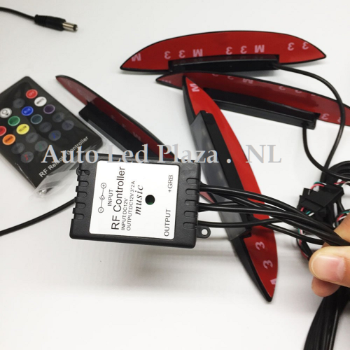 Wielkast RGB SMD LED verlichting set 4x incl. Remote controll (zwarte uitvoering)
