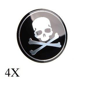 Doodshoofd zwart naafdop embleem set