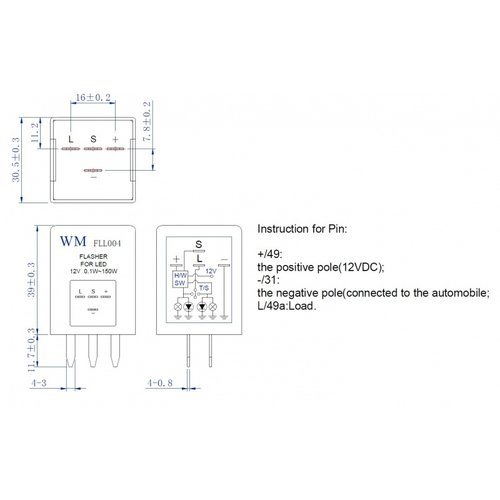 FLL004 LED knipperlicht relais
