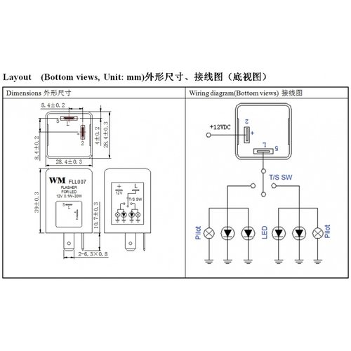 FLL007 LED knipperlicht relais
