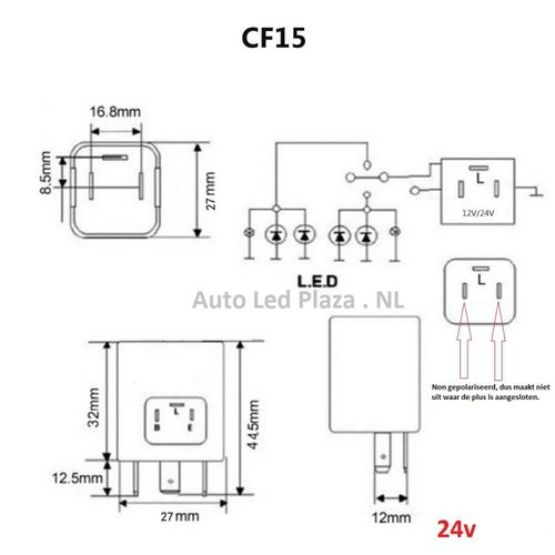 24V 3 pins led knipperlicht relais CF15