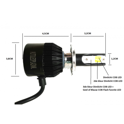 COB LED geel H8,H9,H11 3800LM 22W LED dim/mist/breedstr. licht (Wit/Blauw/Geel met Geel flash)