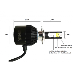 COB LED H1 3800LM 22W LED dim/mist/breedstr. licht (Wit/Geel/Blauw met Geel flash)