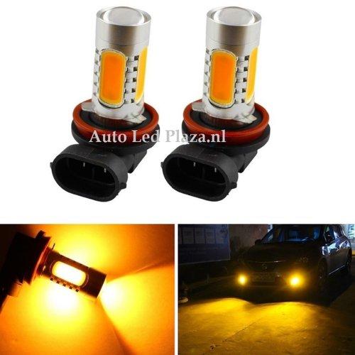 COB LED H8/H11 7,5W COB geel/amber met lens