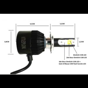 COB LED HB3 9005 3800LM 22W LED dim/mist/breedstr. licht (Wit/Geel/Blauw met Geel flash)
