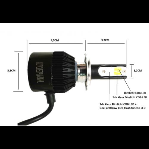 COB LED HB4 9006 3800LM 22W LED dim/mist/breedstr. licht (Wit/Blauw/Geel met Blauw flash)