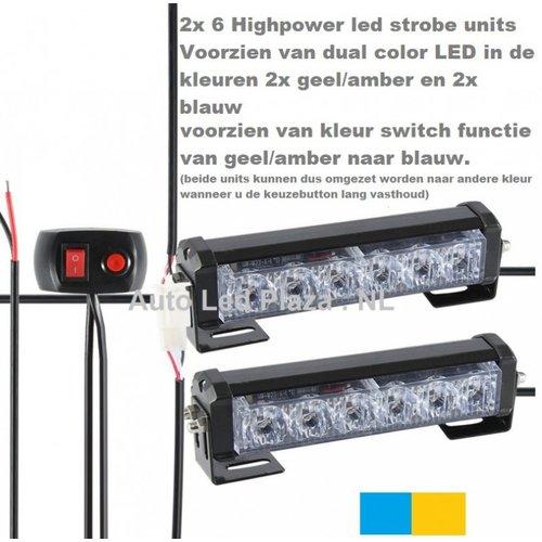 *HOT* set automatisch kleur instelbaar flash signalering units oranje-oranje/blauw-blauw