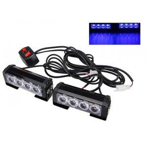 2x 6W highpower flash signalering LED module units Blauw 12v incl remote