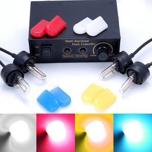 4x 12V HID stroboscoop lampen incl. 4x2 kleur kousjes