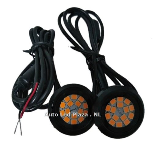 set a 2st. Strobe/flash unit rond 12x 3030SMD oranje/amber