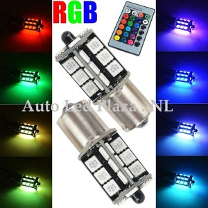 2x BA15S 27 leds RGB 5050SMD LED incl, remote controll