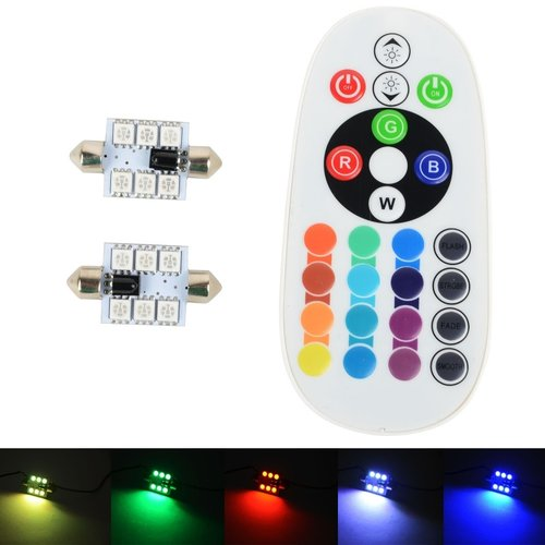 2x C5W Festoon 36MM 6 leds RGB 5050SMD LED incl, remote controll