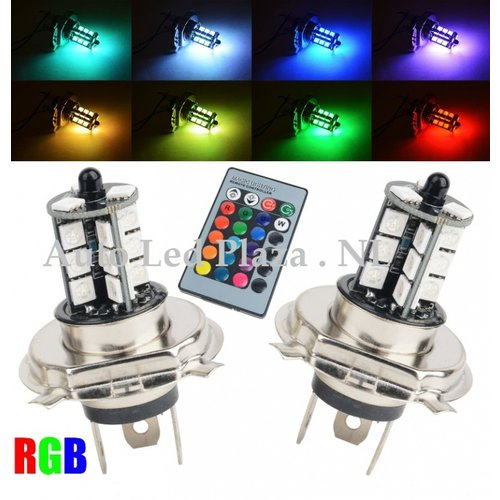 2x H4 27 leds RGB 5050SMD LED incl, remote controll