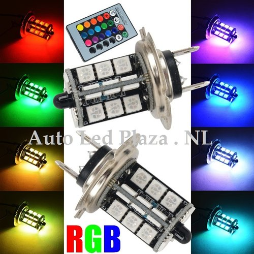 2x H7 27 leds RGB 5050SMD LED incl, remote controll