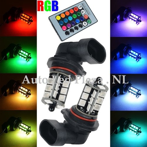 2x HB4 9006 27 leds RGB 5050SMD LED incl, remote controll