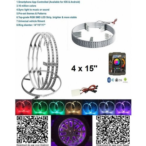 4x RGB LED 15 inch wiel ringen incl bluetooth bediening
