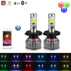 COB LED H4 LED dimlicht + RGB Demon eyes incl Bluetooth bediening