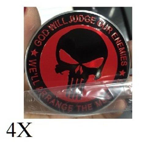 Punischer rood  zwart naafdop embleem set