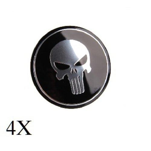 Punischer zwart naafdop embleem set