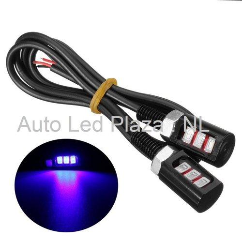 Universeel 3x5730SMD LED interieur sfeer licht Blauw