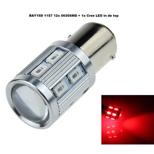 Cree LED BAY15D 12x 5630SMD + 1x Cree in top Rood