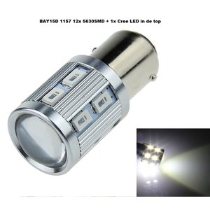 Cree LED BAY15D 12x 5630SMD + 1x Cree in top wit