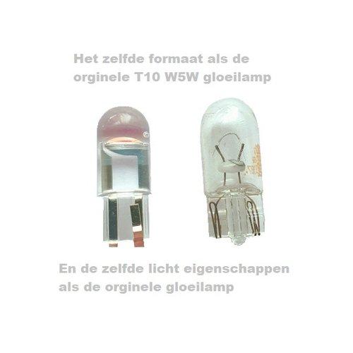 COB LED T10 W5W  geel/amber  1x LED GLass-look