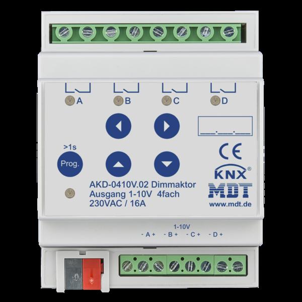 MDT 4 voudige Stuureenheid 1-10V AKD  4TE Din rail met RGBW functionaliteit