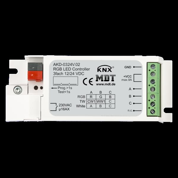 MDT 3 kanaals LED-controller Inbouw Voor 12 / 24V CV LED  of  RGB, TW