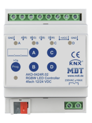 MDT 4 kanaals LED-controller 4/8A, DRA, Voor 12 / 24V CV LED  of RGBW, TW