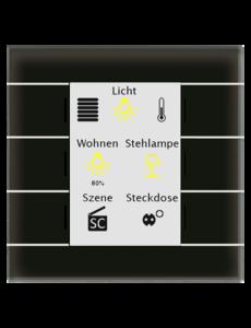 MDT Glastaster II Smart 4/6/8/12-voudig, + temp sensor zwart  kleurendisplay en RGB-statusweergave