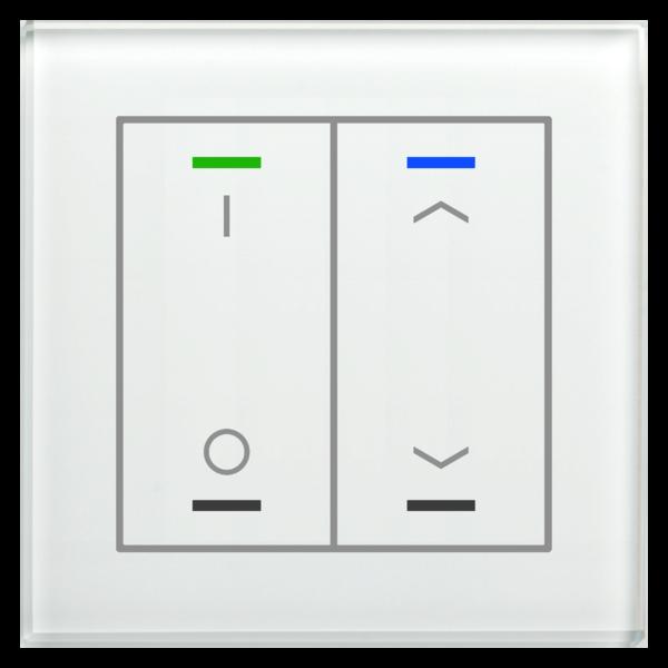 MDT Glastaster II Light 2-voudig  I/O  en I/O  UP/Down symbool met temp. sensor