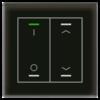 Glastaster II Light 2-voudig zwart I/O  en I/O  UP/Down symbool met temp. sensor