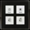 Glazen Drukknop Plus 4-voudigzwart  omringend oriëntatielicht