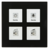Glazen Drukknop Plus 4-voudigzwart   incl. temp.sensor omringend oriëntatielicht