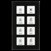 Glazen Drukknop Plus 8-voudigzwart   incl. temp.sensor omringend oriëntatielicht