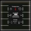 Glazen centrale bedieneenheid zwart met kleuren display en temperatuursensor