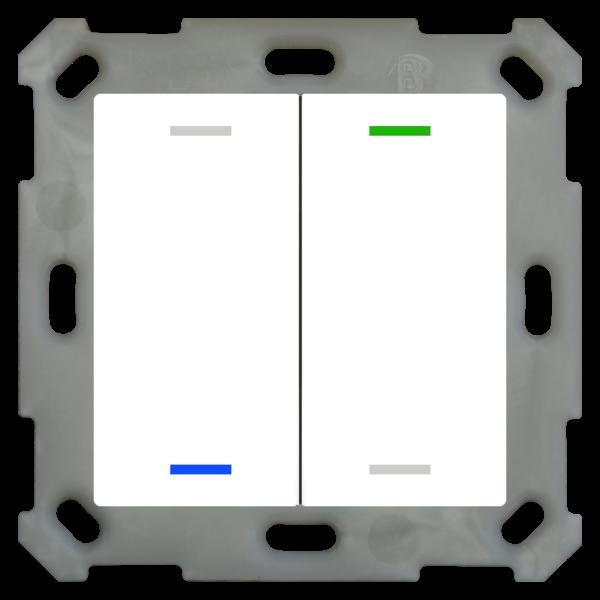 MDT Taster Light 55  2 voudig RGBW zuiver wit glanzende, NEUTRAAL versie